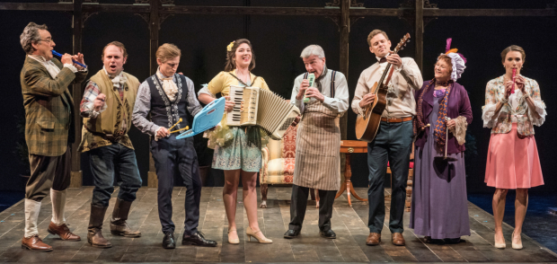 <p>The cast of <em>She Stoops to Conquer</em> — John Rothman, Richard Thieriot, Jeremy Beck, Justine Salata, James Prendergast, Tony Roach, Cynthia Darlow, and Mairin Lee — provides musical entertainment during the show.</p><br />© Marielle Solan
