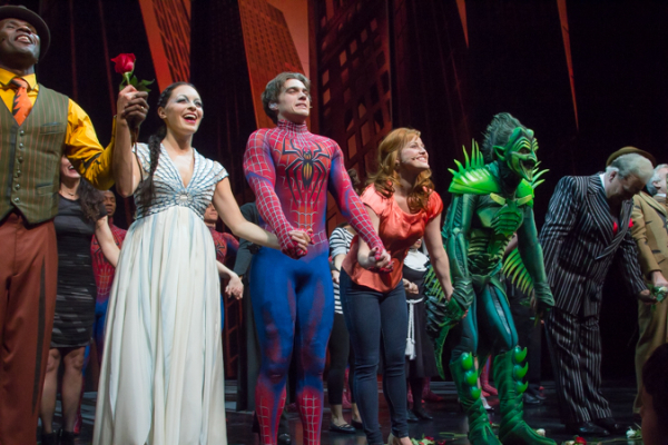 <p>The cast of <em>Spider-Man Turn Off the Dark</em> takes their final bow.</p><br />(© Seth Walters)