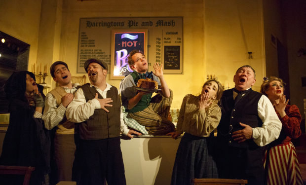 <p>The cast of <em>Sweeney Todd</em> performs in the pie shop at off-Broadway&#39&#x3B;s Barrow Street Theatre.</p><br />(© Joan Marcus)