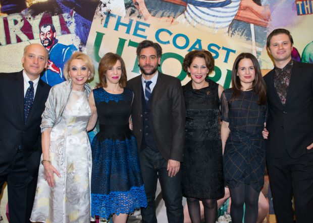 <p>The cast of <em>The Babylon Line</em>: Frank Wood, Julie Halston, Maddie Corman, Josh Radnor, Randy Graff, Elizabeth Reaser, and Michael Oberholtzer.</p><br />(© Allison Stock)