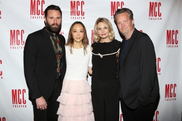 <p>The cast of <em>The End of Longing</em>: Quincy Dunn-Baker, Sue Jean Kim, Jennifer Morrison, and Matthew Perry.</p><br />(© Tricia Baron)