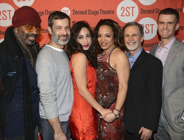 <p>The cast of <em>The Happiest Song Plays Last</em>: Anthony Chisholm, Dariush Kashani, Annapurna Sriram, Lauren Vélez, Tony Plana, and Armando Riesco.</p><br />(© Nessie Nankivell)