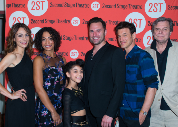 <p>The cast of <em>The Layover</em>: Annie Parisse, Amelia Workman, Arica Himmel, Quincy Dunn-Baker, Adam Rothenberg, and John Procaccino.</p><br />(© Allison Stock)