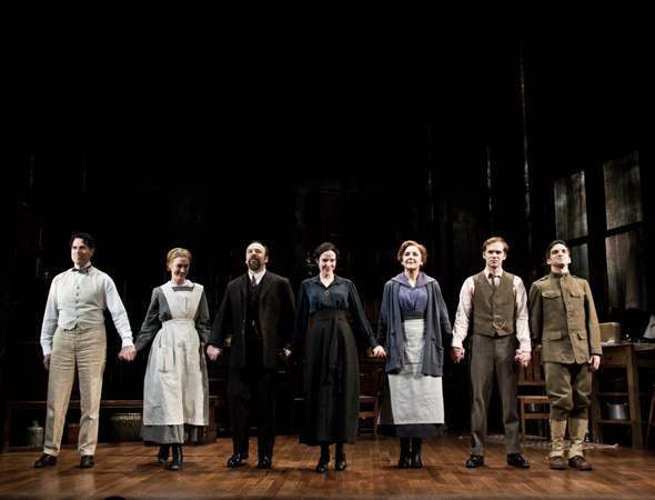 <p>The cast of <em>The Snow Geese</em> onstage at the Samuel J. Friedman Theatre.</p><br />(© David Gordon)