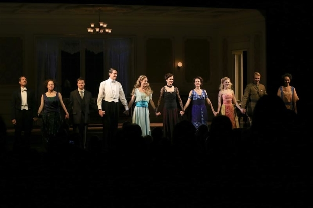<p>The cast of <em>Time and the Conways</em> ends the show with joyful curtain call.</p><br />(© Tricia Baron)