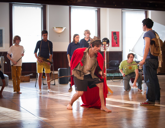 <p>The cast of William Golding's <em>Lord of the Flies</em> in rehearsal.</p><br />(© Joel Moorman)