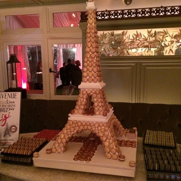 <p>The centerpiece of the evening was an Eiffel Tower sculpture made out of traditional French macaroons.</p><br />(© David Gordon)