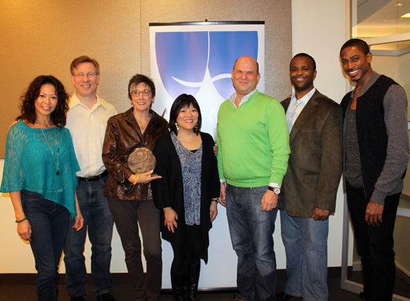 <p>The <em>Cinderella</em> recipients: Kristine Bendul, Ira Mont, Robyn Goodman, Ann Harada, Stephen Kocis, Phumzile Sojola, and Robert Hartwell.</p><br />(Photo courtesy of Actors' Equity Association)