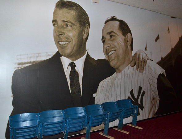 <p>The Circle in the Square Theatre&#39&#x3B;s lobby has been transformed into a museum of New York Yankees artifacts, such as these chairs from the old stadium.</p><br />(© David Gordon)