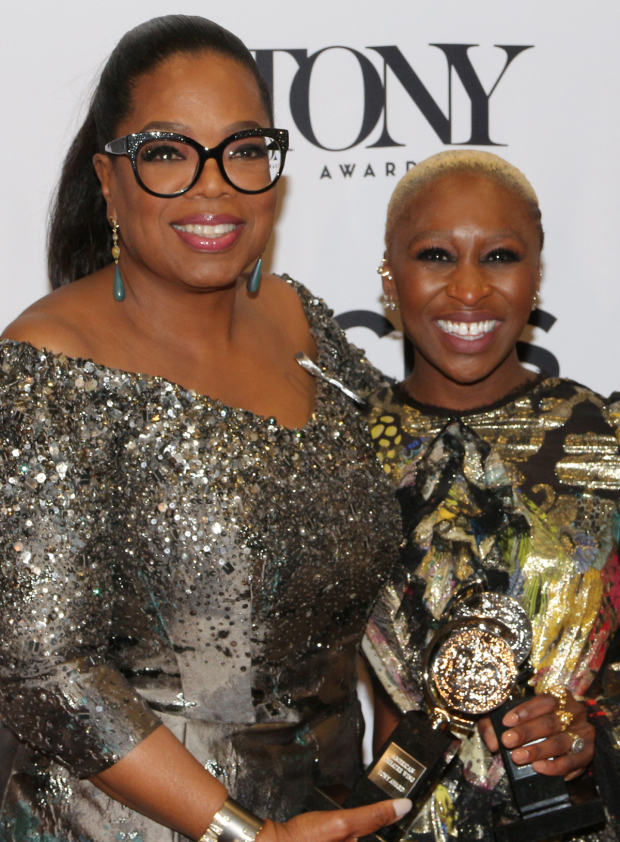 <p><em>The Color Purple</em> coproducer Oprah Winfrey joins Cynthia Erivo for a photo.</p><br />(© David Gordon)