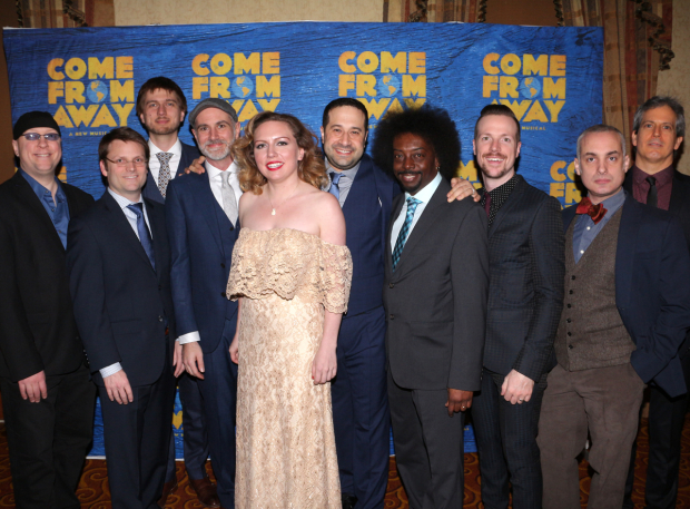 <p>The <em>Come From Away</em> band is on hand for the festivities.</p><br />(© David Gordon)