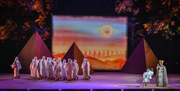 <p>The company gathers onstage.</p><br />(courtesy of The Muny)