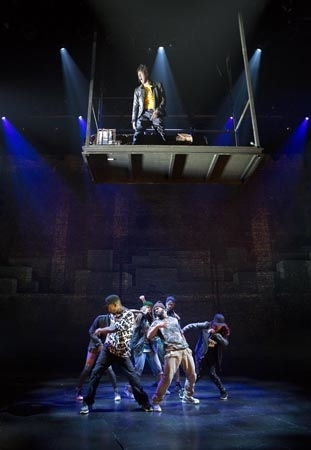 <p>The company of <em>Holler If Ya Hear Me</em> show off their choreography.</p><br />(© Joan Marcus)