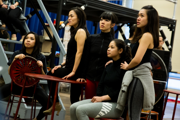 <p>The company of <em>Miss Saigon</em> rehearse &quot&#x3B;The Movie in My Mind.&quot&#x3B;</p><br />(© Matthew Murphy)
