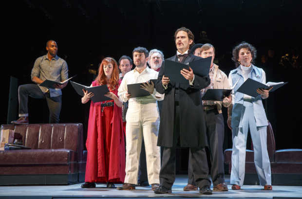 <p>The company of the Encores! Off-Center production of <em>Assassins</em>, playing through Saturday, July 15, at New York City Center.</p><br />(© Joan Marcus)