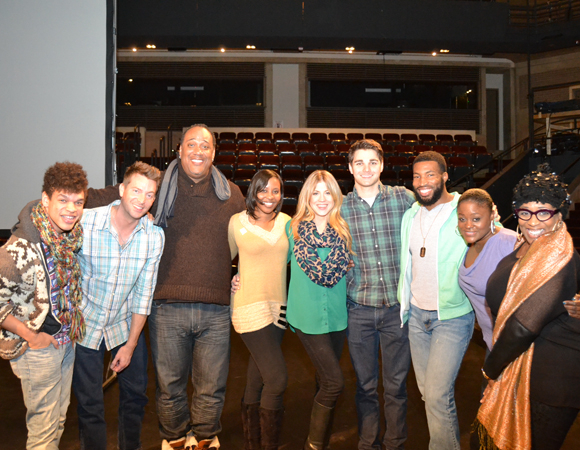 <p>The complete cast of <em>Smokey Joe's Café</em> gathers for the first rehearsal at Arena Stage. </p><br />(© Arena Stage)