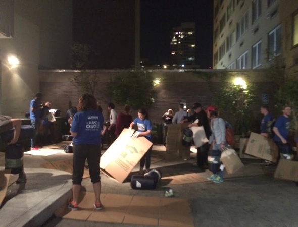 <p>The Covenant House courtyard fills with Broadway stars, returnees, and first-timers making their beds.</p><br />(© Rachel Sussman)