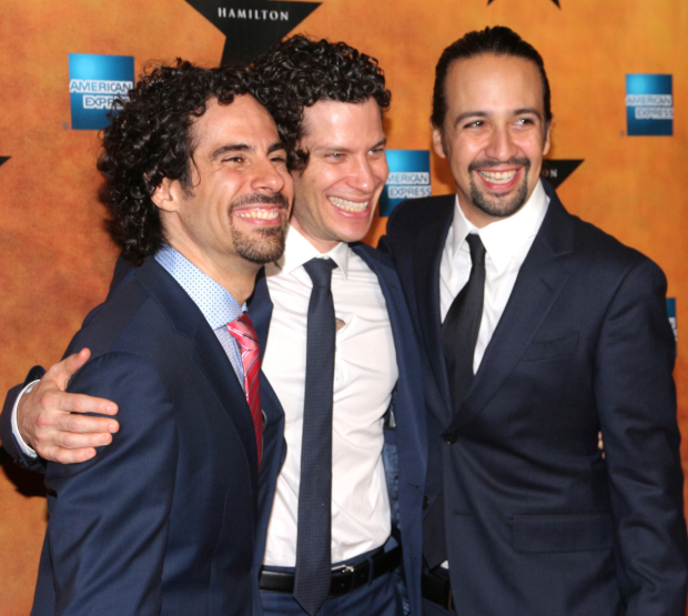 <p>The creative team: musical director/orchestrator Alex Lacamoire, director Thomas Kail, and writer/star Lin-Manuel Miranda.</p><br />(© David Gordon)