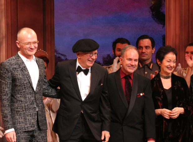 <p>Darko Tresnjak, Terrence McNally, Stephen Flaherty, and Lynn Ahrens take a bow at curtain call.</p><br />(© David Gordon)