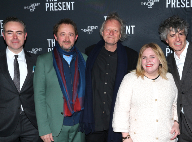 <p>The creative team of <em>The Present</em>: director John Crowley, playwright Andrew Upton, lighting designer Nick Schlieper, set and costume designer Alice Babidge, and composer/sound designer Stefan Gregory.</p><br />(© David Gordon)