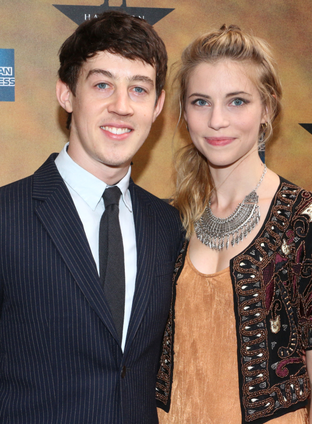 <p><em>Curious Incident</em> Tony winner Alex Sharp (seen her with his girlfriend, Wallis Currie-Wood) is proud to cheer on his Juilliard classmate, Phillipa Soo, upon her Broadway debut.</p><br />(© David Gordon)