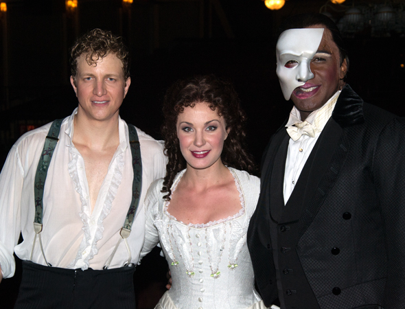 <p>The current leads of Broadway&#39&#x3B;s <em>Phantom of the Opera</em>: Jeremy Hays (Raoul), Sierra Boggess (Christine), and Norm Lewis (The Phantom).</p><br />(© David Gordon)