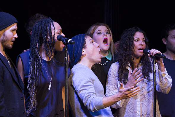 <p>The ensemble of <em>If/Then</em> is happy to perform.</p><br />(© David Gordon)