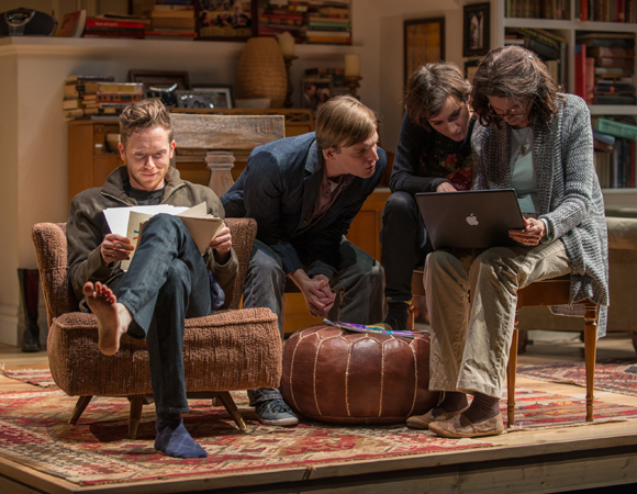 <p>The family gathers in the living room, including Daniel (Steve Haggard), Billy (John McGinty), Ruth (Helen Sadler), and Beth (Molly Regan). </p><br />(© BROSILOW)