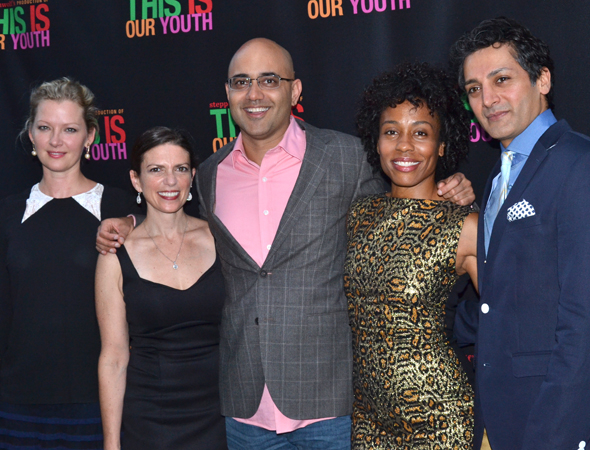 <p>The family of <em>Disgraced</em> (Gretchen Mol, Kimberly Senior, Ayad Akhtar, Karen Pittman, and Hari Dhillon) were thrilled to welcome <em>This Is Our Youth</em> to Broadway.</p><br />(© David Gordon)