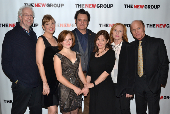 <p>The family of <em>The Jacksonian</em>. From left: director Robert Falls&#x3B; cast members Glenne Headly, Juliet Brett, and Bill Pullman&#x3B; playwright Beth Henley&#x3B; and cast members Amy Madigan and Ed Harris.</p><br />(© David Gordon)