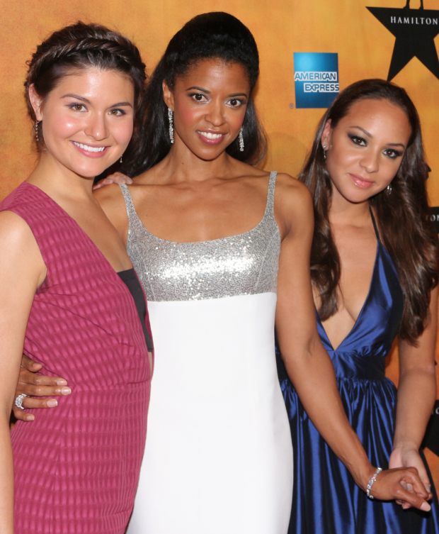 <p>The fashionable Schuyler Sisters, Phillipa Soo, Renée Elise Goldsberry, and Jasmine Cephas Jones, are thrilled to celebrate their opening night.</p><br />(© David Gordon)