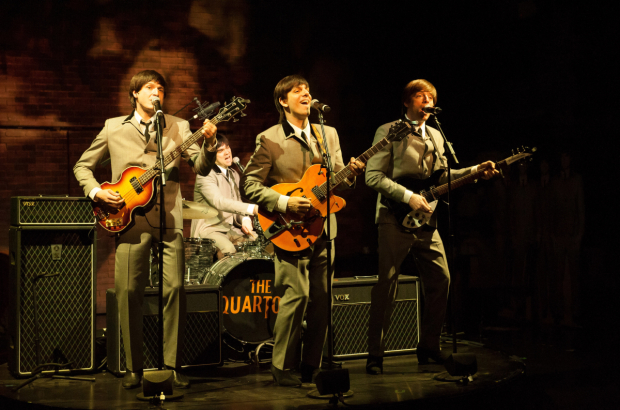 <p>The four main characters in <em>These Paper Bullets!</em> are part of a Beatles-like British rock band called The Quartos.</p><br />(© Ahron Foster)