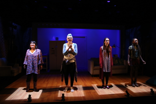 <p>The four-person cast steps upstage.</p><br />(© Carol Rosegg)