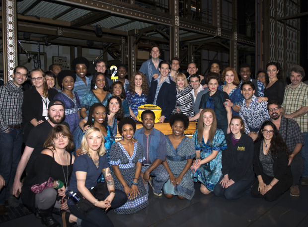 <p>The full cast and creative team of <em>Beautiful</em> poses for a family photo in celebration of the show&#39&#x3B;s second anniversary on Broadway.</p><br />(© Allison Stock)
