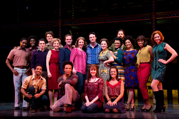 <p>The full cast of <em>Beautiful — The Carole King Musical</em>.</p><br />(© David Gordon)