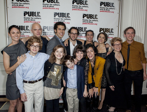 <p>The full cast of <em>Fun Home</em> is joined by book writer/lyricist Lisa Kron, composer Jeanine Tesori, director Sam Gold, and choreographer Danny Mefford for a family photo.</p><br />(© David Neff)