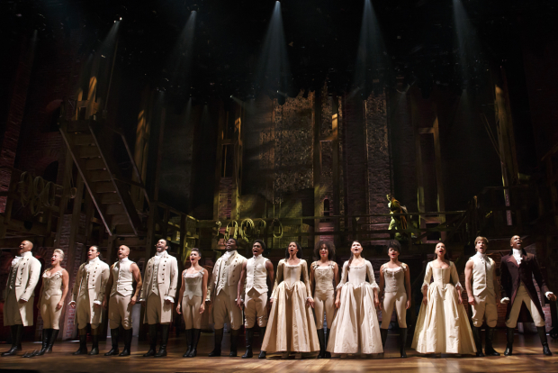 <p>The full cast of <em>Hamilton</em> takes the stage.</p><br />(© Joan Marcus)