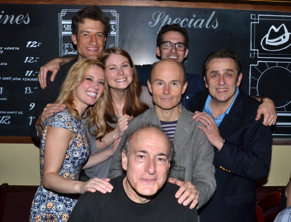 <p>The full company: (from left) Patti Murin, Bryce Ryness, Allison Case, Adam Chanler-Berat (back), Henry Stram (middle), Peter Friedman (front), and Michael McCormick.</p><br />(© David Gordon)