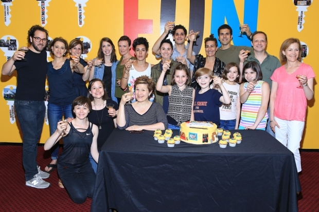 <p>The <em>Fun Home</em> cast and creative team toast the &quot&#x3B;Wall of Keys&quot&#x3B; installation and their 500th Broadway performance.</p><br />(© Tricia Baron)