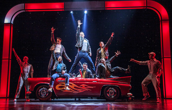 <p>The gents of Paper Mill Playhouse&#39&#x3B;s <em>Grease</em> show off their &quot&#x3B;Greased Lightning.&quot&#x3B;</p><br />(© Jerry Dalia)