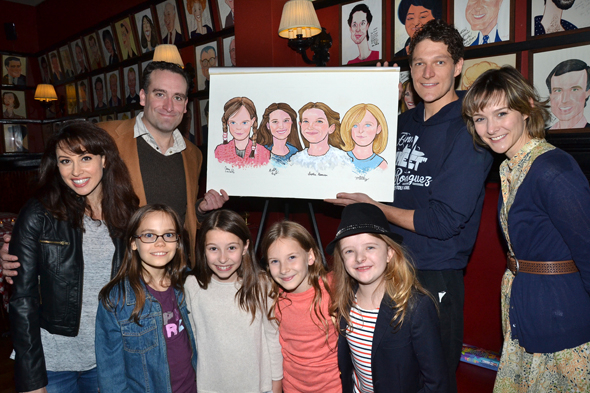 <p>The girls are joined by their grown-up castmates, Lesli Margherita, Chris Hoch, Gabriel Ebert, and Jill Pace.</p><br />(© David Gordon)