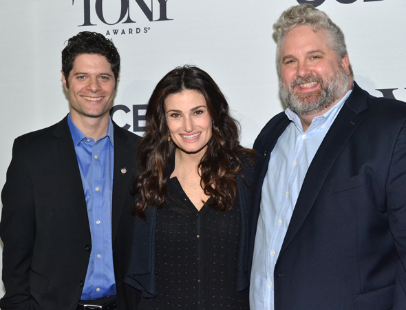 <p>The happy <em>If/Then</em> family: Tony-nominated songwriters Tom Kitt (left) and Brian Yorkey and Tony-nominated star Idina Menzel.</p><br />(© David Gordon)