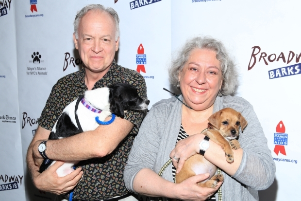 <p><em>The Humans</em> Tony winners Reed Birney and Jayne Houdyshell go to the dogs at <em>Broadway Barks</em>.</p><br />(© Tricia Baron)