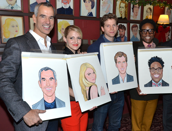 <p>The <em>Kinky Boots</em> family (x2): director/choreographer Jerry Mitchell, and stars Annaleigh Ashford, Stark Sands, and Billy Porter.</p><br />(© David Gordon)