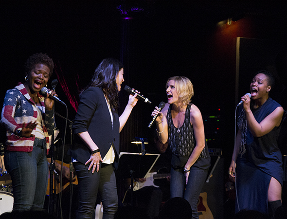 <p>The ladies of <em>If/Then</em>, LaChanze, Idina Menzel, Jenn Colella, and Tamika Lawrence, take the stage.</p><br />(© David Gordon)