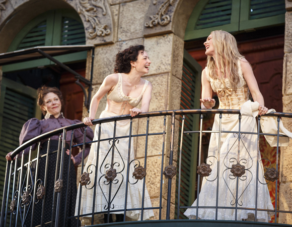 <p>The ladies of <em>Much Ado About Nothing</em> cavort on the balcony.</p><br />(© Joan Marcus)