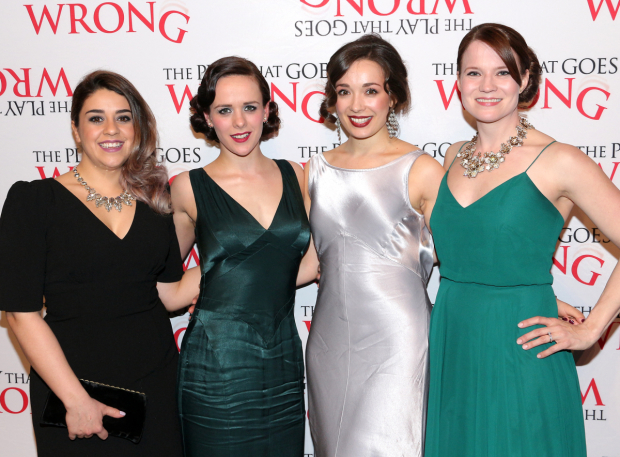 <p>The ladies of <em>The Play That Goes Wrong</em> celebrate their Broadway debuts.</p><br />(© David Gordon)