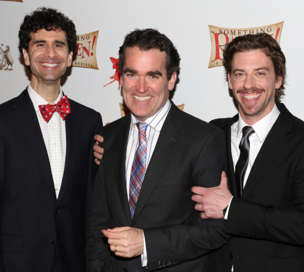 <p>The leading men of <em>Something Rotten!</em>: John Cariani (Nigel Bottom), Brian d&#39&#x3B;Arcy James (Nick Bottom), and Christian Borle (William Shakespeare).</p><br />(© David Gordon)