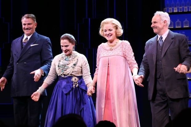 <p>Douglas Sills, Patti LuPone, Christine Ebersole, and John Dossett take a bow on the opening night of <em>War Paint</em>.</p><br />(© Tricia Baron)