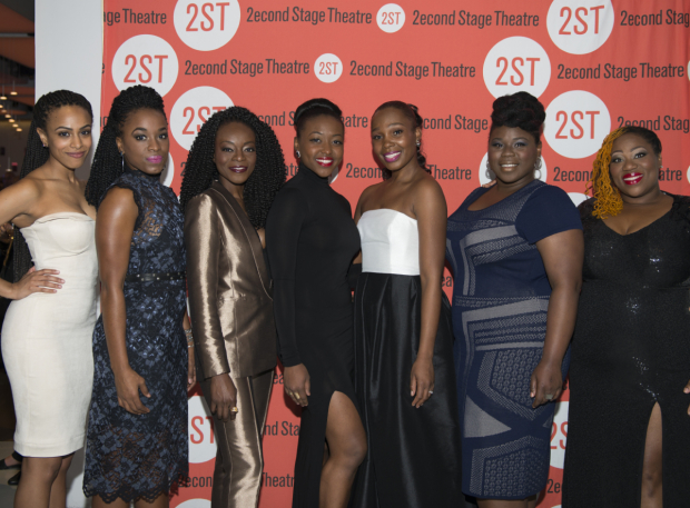 <p>The lovely ladies of <em>Invisible Thread</em> show off their opening-night finest.</p><br />(© Allison Stock)